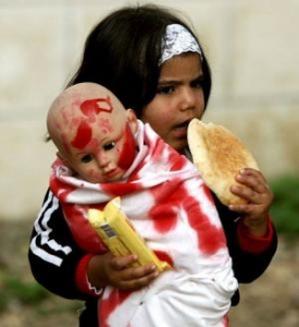 child with wounded doll in Gaza