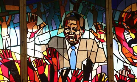 A stained glass window Nelson Mandela at the Regina Mundi church in Soweto