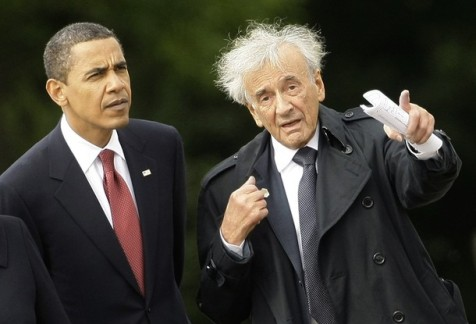 U.S. President Obama listens to Holocaust survivor Wiesel during visit  to former Buchenwald Nazi concentration camp