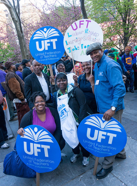 UFT members at May Day rally.