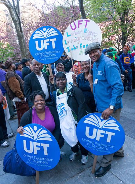 UFT members at May Day rally.