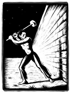 knocking down apartheid wall.2