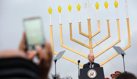 U.S. Vice President Joe Biden at the annual lighting of the National Hanukkah Menorah in Washington, December 16, 2014. Photo by Reuters