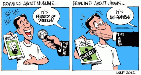 "France is going to give Charlie Hebdo a million Euros to ""support free speech"" for a magazine that was on the verge of failure because nobody bought it, offended Christians and Jews, but fired one of their writers for anti-Semitism! Image by Latuff"
