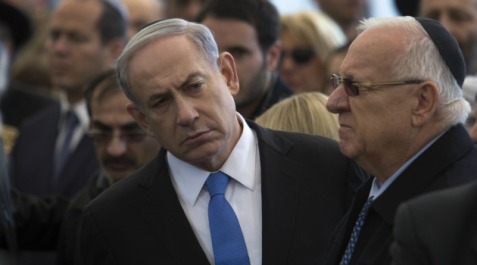 GETTY IMAGES Israeli Prime Minister Benjamin Netanyahu and President Reuven Rivlin at funeral for kosher grocery victims.
