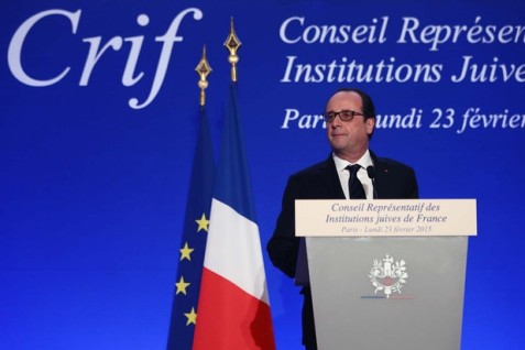 "French President François Hollande says modern ""anti-Semitism"" stems from ""hatred of Israel."" (Presidency of France)"