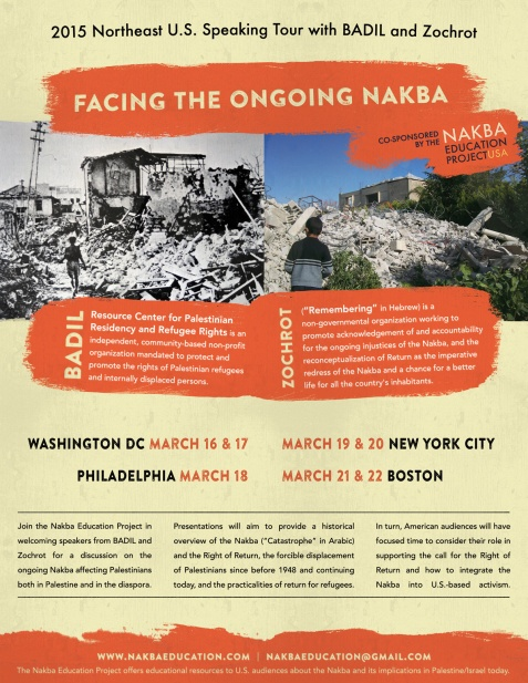 """Facing the Ongoing Nakba"" tour schedule"