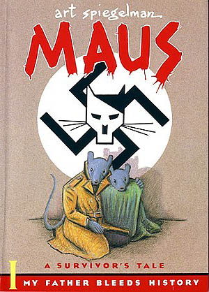 Cover of the graphic novel Maus by Art Spiegelman.  Description of book HERE from Wikipedia