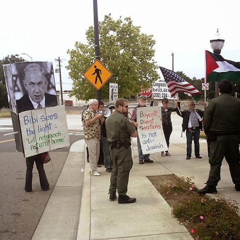 Pro-Palestinian protesters outside West Sacramento's Raley Field. (Photo: Rocco Valachi)