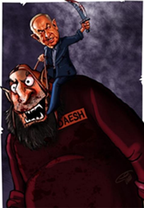 "Prime Minister Benjamin Netanyahu shown riding an ISIS ""monster,"" holding a bloody sword - this in criticism of Israel's alleged contribution to the strengthening of the terror organization."