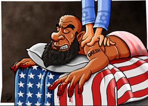 Another cartoon shows hands with a Star of David give a massage to the back of an Islamic State fighter lying on top of an American flag.