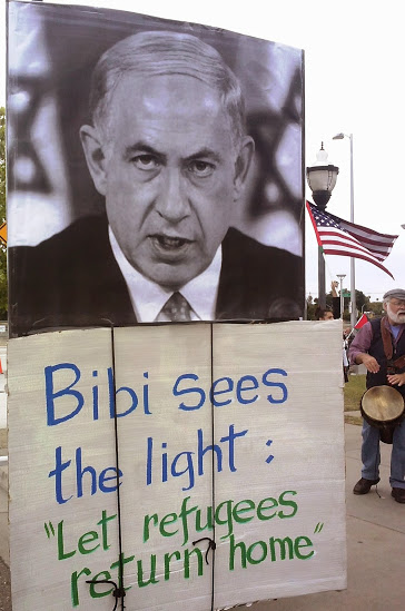 The Netanyahu puppet in West Sacramento's pro-Palestinian protest. (Photo: Rocco Valachi)