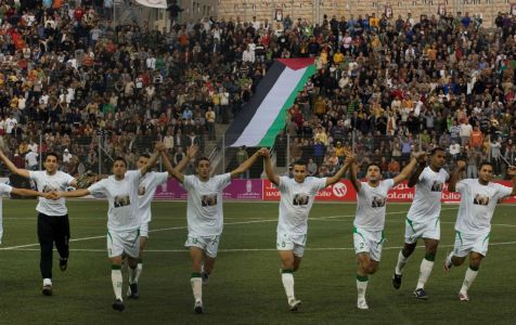 Palestinian national soccer team players. (AP Photo/Tara Todras-Whitehill)