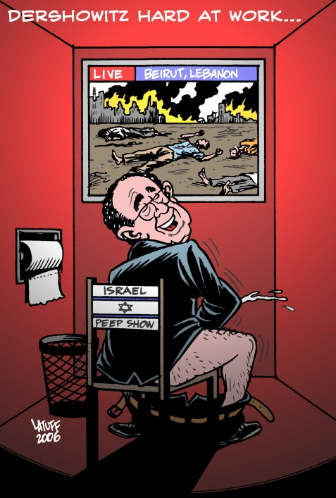 Looks like the old perv spends lots of time in the bathroom .... Image by Latuff