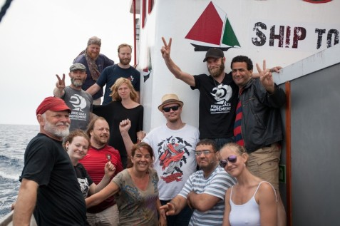 Members of the crew of the Marianne, which was seized by Israeli forces in international waters early on 29 June as it headed toward Gaza. (Freedom Flotilla III)