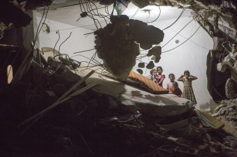 A destroyed home in Khuzaa, September 2014. (Anne Paq /ActiveStills)