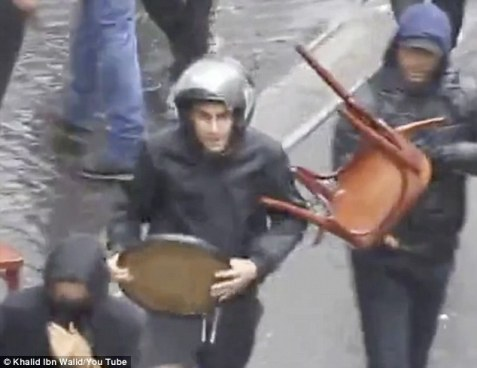 Terrorist organization Jewish Defense League on the streets of Paris July 13. 2014 -Screenshot Khalid Ibn Walid/Daily Mail