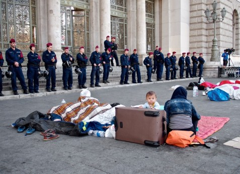 A scene from Budapest earlier this month; Hungary has responded in a brutal manner to refugees fleeing war. (Michael Gubi/Flickr)