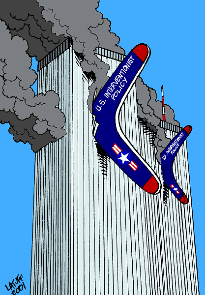 This is the first cartoon I made just after watching the WTC burning in September 11, 2001