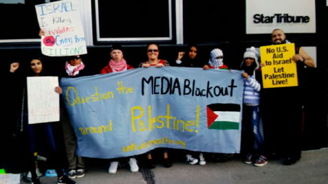 Minneapolis protest outside Star Tribune slams lack of coverage of Israeli settler violence. (Fight Back! News/Staff)