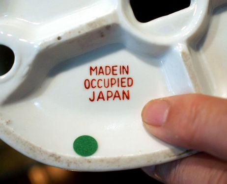 "The ""Made in Occupied Japan"" mark is seen on a postwar Japanese export."