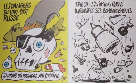 CharlieHebdo mocks 224 dead from Russia plane crash just like that time it mocked 1000+massacred protesters in Egypt