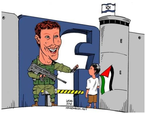 "Screen shot of ""@Facebook censors cartoon critical of Israel"""