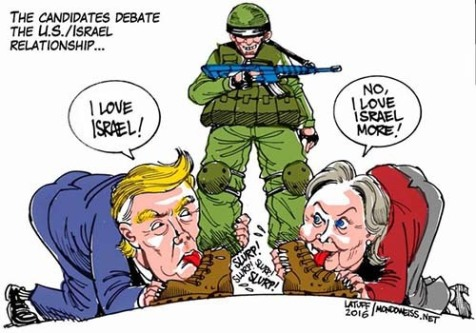 Screen shot of U.S. presidential candidates Donald Trump & Hillary Clinton  licking Israel's boots