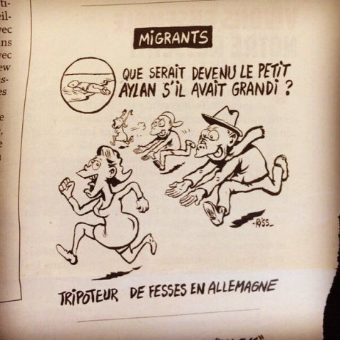 Charlie Hebdo depicts Arab migrants as beast-like creatures that are out of control. This is racist. Plain & simple.  FROM
