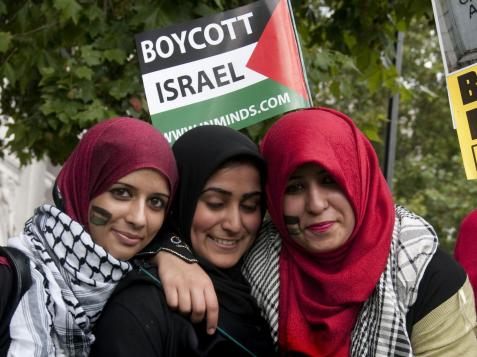 Protesters in London calling for a boycott of Israeli goods Rex Features