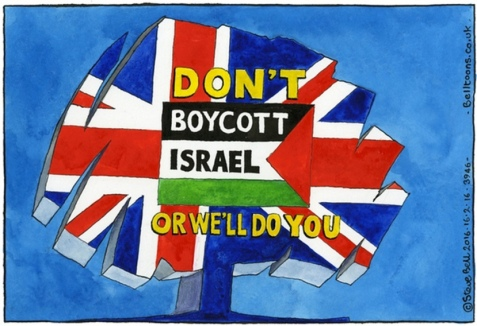 "The tree represents the Conservative Party, whilst the words ""ORWE'LL DO YOU"" have an obvious double meaning – the warning ""we'll do you"" (in effect, ""We'll get you!"") is written in a manner visually reminding readers of George Orwell, likely suggesting that the anti-boycott law runs afoul of Orwell's warnings about the erosion of free speech."