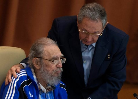Fidel Castro, left, with his brother, President Raúl Castro, addressed Cuba's Communist Party at the party congress in Havana on Tuesday. Credit Ismael Francisco/Cubadebate, via Associated Press