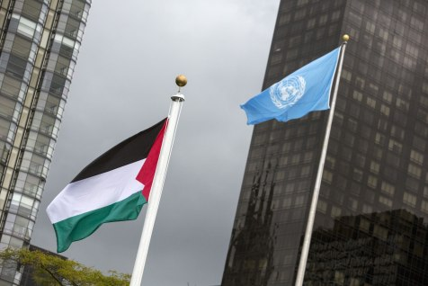 Not good enough for Eurovision? The Palestinian flag flies beside the flag of the UN after being raised by  Mahmoud Abbas. [Andrew Kelly/Reuters]