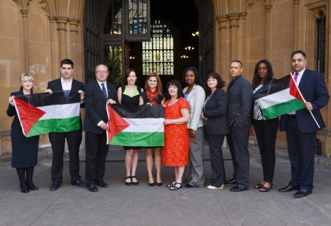 Jo Cox, fifth from left, with other MPs who joined Labour Friends of Palestine's in 2015. (Labour Friends of Palestine)
