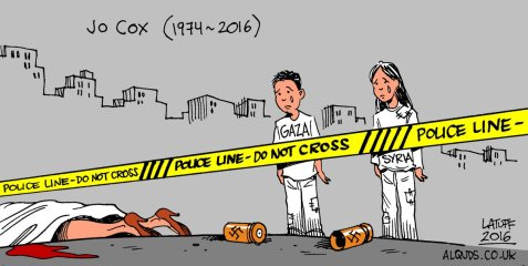 Friend of Palestinians, Syrian refugees murdered by a nazi Image by Latuff