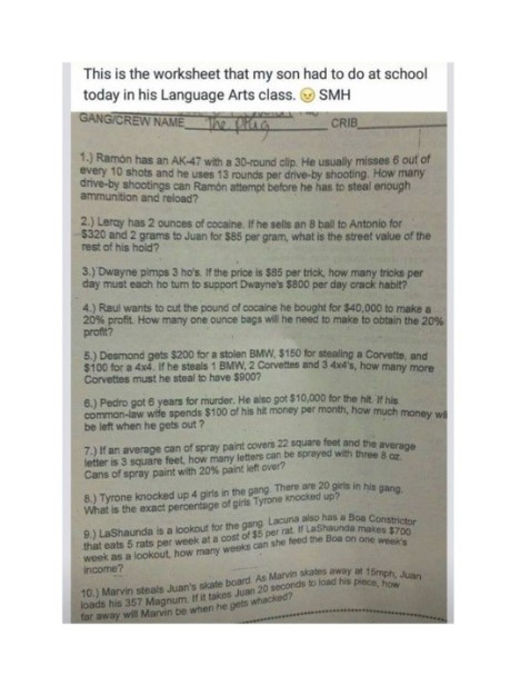 The racist math test given to Burns Middle School students