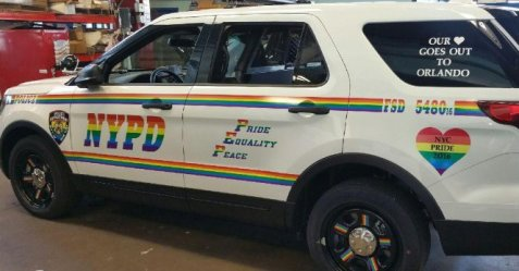 The NYPD is supporting gay pride with a new rainbow colored patrol vehicle.