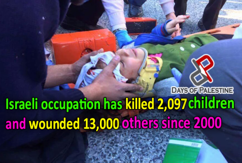 Israeli occupation has killed 2,079 Palestinian children since 2,000,