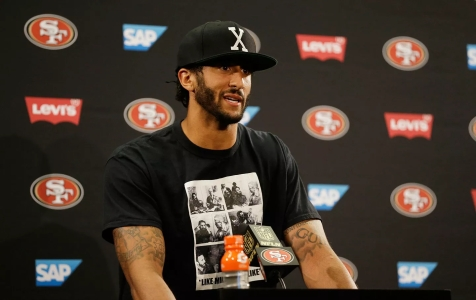 San Francisco 49ers quarterback Colin Kaepernick answers questions at a news conference on Friday, August 26, 2016. (AP Photo / Ben Margot)