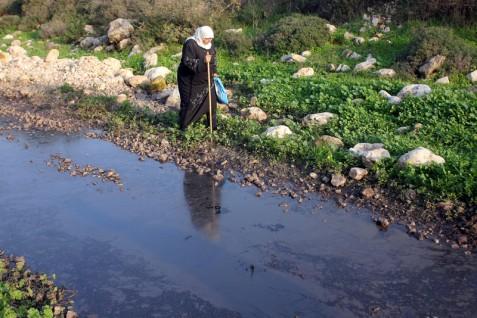 A Palestinian woman walks next to sewage water flowing from Israeli settlements in the West Bank village of Kafr Thulth, near Qalqilya, December 2012. (Ahmad Al-Bazz ActiveStills)