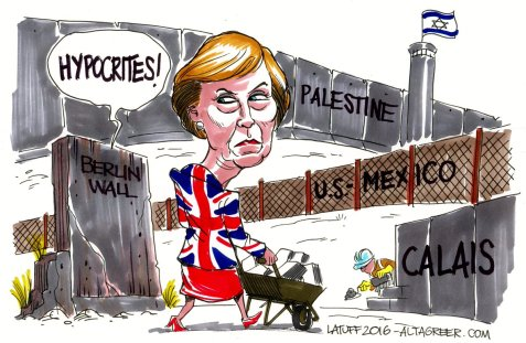 UK to Build a Wall at Calais to Stop Migrants By Latuff