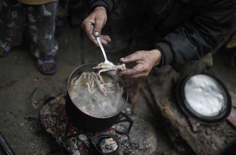 Because of extreme poverty Palestinian family in Gaza cooks chicken feet & toes 💔