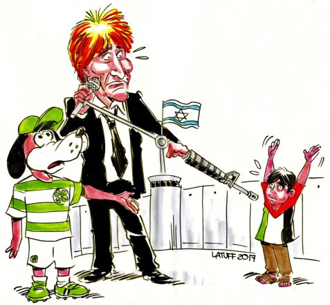 Celtic fans calling on Rod Stewart to support BDS and cancel his concert in Israel.