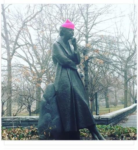 The statue of Eleanore Roosevelt on Riverside Drive was given a 'pussy hat' - a recognition that she would be marching with us if she could.