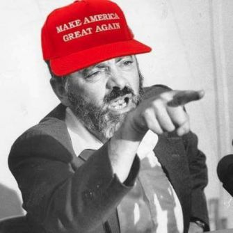 "Facebook The avatar image of a Kahanist Facebook group depicts Meir Kahane wearing a pro-Trump ""Make America Great Again"" hat."
