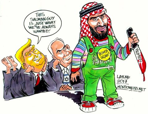 Afbeeldingsresultaat voor trump and king bin salman al quds cartoon